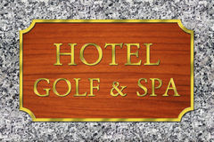 Signage board for a hotel. Stock Images