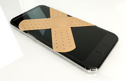 Generic Smart Phone With Band Aids royalty free illustration