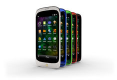 Generic smartphones (with shadow) Stock Image