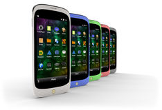 Generic smartphones (with shadow) Stock Images