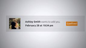 Generic Social Media Pop-Up Notification - Friend request ALT stock video