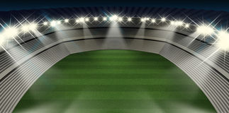 Generic Stadium Night. A generic stadium with an unmarked green grass pitch at night under spotlights royalty free illustration