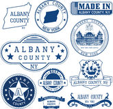 Generic stamps and signs of Albany county, NY Royalty Free Stock Images