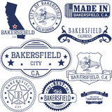 Generic stamps and signs of Bakersfield city, CA Royalty Free Stock Image