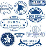 Generic stamps and signs of Bronx borough, NYC Royalty Free Stock Photo