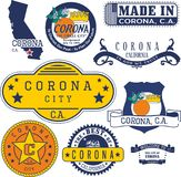 Generic stamps and signs of Corona, CA. Set of generic stamps and signs of Corona city, California Stock Photo