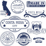 Generic stamps and signs of Costa Mesa city Royalty Free Stock Photo