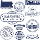 Generic stamps and signs of Harrisburg city, PA Stock Photography