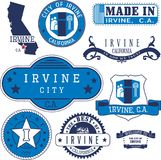 Generic stamps and signs of Irvine, CA. Set of generic stamps and signs of Irvine city, California Royalty Free Stock Photography