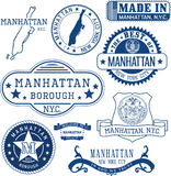 Generic stamps and signs of Manhattan borough, NYC Royalty Free Stock Images