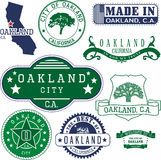 Generic stamps and signs of Oakland city, CA Royalty Free Stock Image