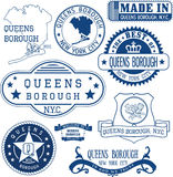 Generic stamps and signs of Queens borough, NYC Stock Photos