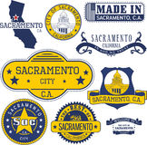 Generic stamps and signs of Sacramento city, CA Royalty Free Stock Photos