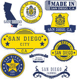 Generic stamps and signs of San Diego city, CA Stock Images