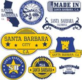 Generic stamps and signs of Santa Barbara city, CA. Set of generic stamps and signs of Santa Barbara city, California Stock Images