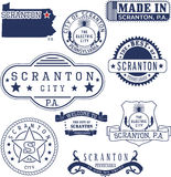 Generic stamps and signs of Scranton city, PA Royalty Free Stock Photo