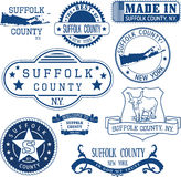 Generic stamps and signs of Suffolk county, NY Royalty Free Stock Photos