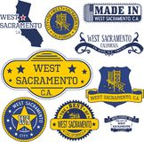 Generic stamps and signs of West Sacramento city, CA Royalty Free Stock Photos