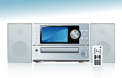 Generic Stereo System. Generic compact stereo system with speakers and remote control; with reflection. Easy-edit layered file vector illustration
