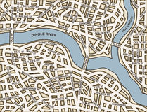 Generic streets. Editable  street map of a generic city with names on a separate layer Royalty Free Stock Photography