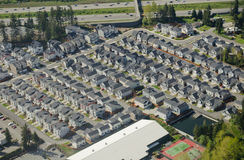 Generic Suburban Neighborhood. Aerial perspective of new, simple housing development Royalty Free Stock Photo
