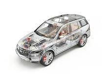 Generic Suv car detailed cutaway 3D rendering. Soft look. Generic Suv car detailed cutaway 3D realistic rendering. Soft look. With all main details in ghost vector illustration