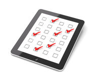 Generic tablet PC with checkboxes Royalty Free Stock Photos