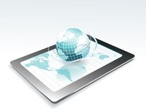 Generic tablet PC. With globe Royalty Free Stock Images