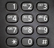 Generic telephone keypad. Closeup of a generic alphanumeric telephone keypad stock photo