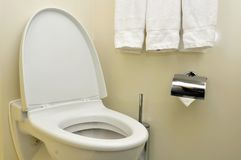Generic toilet seat and bowl Stock Photo