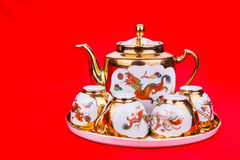 Generic traditional Chinese tea set used in wedding tea ceremony Royalty Free Stock Photography