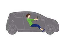 Generic vehicle and young female driver - line drawing illustration Royalty Free Stock Image