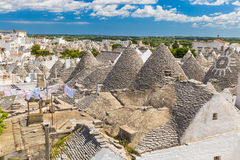 Generic view of Alberobello with trulli roofs and terraces, Apulia region, Southern Italy Royalty Free Stock Photography