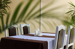 Generic view of restaurant table with table covered by tablecloth anf napkins on it Stock Images