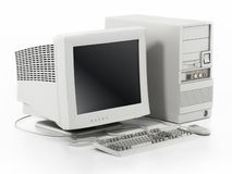 Generic vintage 90`s style computer isolated on white. 3D illustration stock illustration