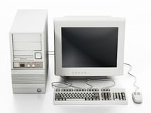 Generic vintage 90`s style computer isolated on white. 3D illustration vector illustration