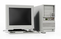 Generic vintage 90`s style computer isolated on white. 3D illustration royalty free illustration