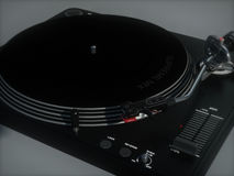 Generic Vinyl Turntable. 3D image of generic vinyl turntable Stock Photography