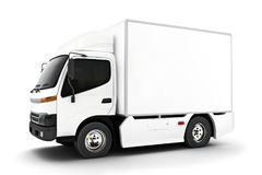 Generic white industrial transport truck on an  white background.Room for text or copy space. Stock Photography