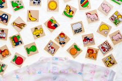 Generic wooden toys with no copy rights, representing objects an Royalty Free Stock Photography
