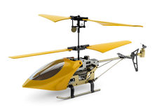 Generic yellow remote controlled helicopter. On white background stock images