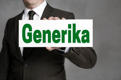 Generika in german Generic label is held by businessman Royalty Free Stock Photography