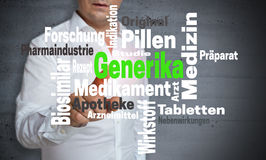 Generika in german Generic wordcloud touchscreen is operated b Royalty Free Stock Image