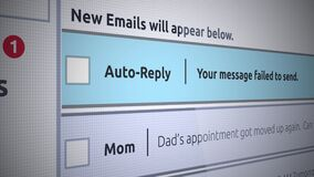 Generisch E-mail Nieuw Inbox Bericht - het Autoantwoordbericht slaagde te verzenden er niet in stock footage