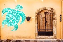 9 9 2016 - Generische Architektur in der alten Stadt von Rethymno Stockbild