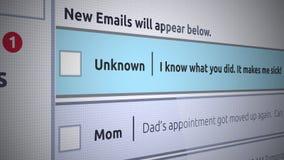 Generische E-Mailneue Inbox-Mitteilung - erpressen Sie E-Mail stock abbildung