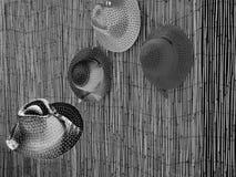 Generische Rieten Hoed op Bamboe stock foto's