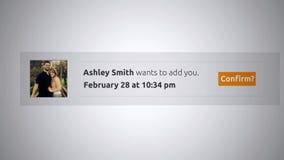 Generische Social Media-Knall--Obenmitteilung - Freundantrag Alt stock video