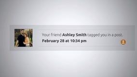 Generische Social Media-Knall--Obenmitteilung - getagged Sie in einem Beitrag Alt stock video footage