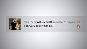 Generische Social Media-Knall--Obenmitteilung - Stellung genommen zu Ihrem Beitrag Alt stock footage